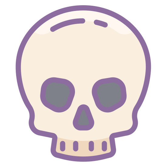 Czaszka icon. An empty skull, mandible missing. Clean of flesh, teeth missing, this skull has been uninhabited for a while. Staring blankly ahead at us, with empty, sightless eye sockets, and an inverted heart for a nose cavity.