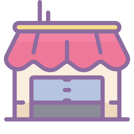 Kleines Unternehmen icon. This is an image of a storefront of a business.  The business is square shaped with a top awning.  There is a smaller rectangular area inside of the square, divided in half and shaped as two doors.