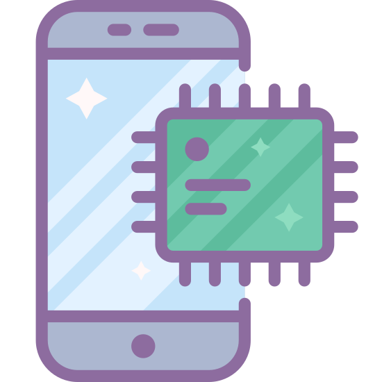 Smartphone procesor icon. A square with slightly rounded corners, with a smaller square inside of it. Between the two squares, there are six closely spaced dots lining the sides, slightly closer to the outer square.