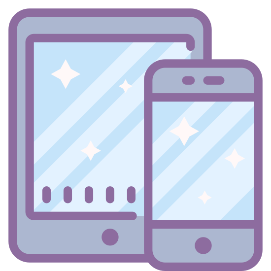 "Smartphone Tablet icon. The icon is a simplified prescription of two devices, a smaller smartphone and a larger tablet. Both devices are rounded rectangles with angular rectangle screens taking up most of the surface, with ""home"" buttons below them. The smartphone overlaps the tablet slightly on the lower right corner."