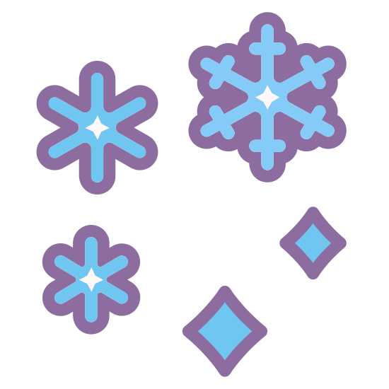 Snow Storm icon. This is a picture of six snowflakes that almost form a circle. They are going around in a flurry. They are all different sizes, only one of which is the largest and has six sides. Two small snowflakes only have four sides.