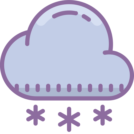 Nieve icon. This is a picture of a cloud that is open at the bottom and has a snowflake in the opening. There are five smaller snowflakes falling from below it. It really shows how a cloud makes snow.