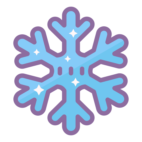 Snowflake icon. The universal symbol for snowflake, one line drawn vertically, two drawn through it making even 60 degree angles. The lines branch out twice, and in the center concaves are drawn between all three lines to form the symbol.