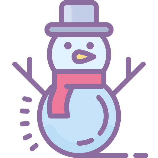 Snowman icon. This icon has a lot of circular shapes. There is one big circle with another circle of similar size, just on its side, on top. On top of that circle is another rounded shape. In the middle of the big circle, there are two dots, a cone-like figure, and a parentheses on its side.
