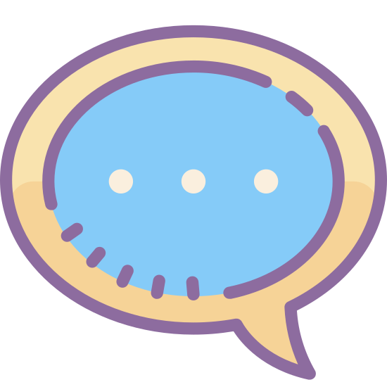 Cообщение-облачко icon. This speech bubble is in the shape of an oval with the exception of a curved triangle pointing out around the lower left of the oval. This curved triangle is small compared to the oval and looks a little bit like a fang or sharp tooth.