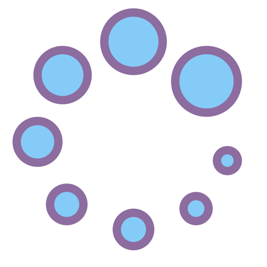Loader icon. This is an icon for Spinner Frame 2. It has different sizes of circles. The different sizes of circles are arranged from the largest to the smallest. It has a total of eight circle that make the large circle.