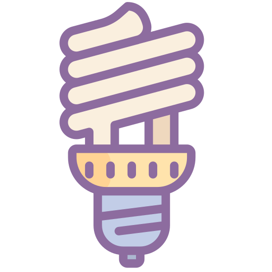 Spiral Bulb icon. It's a logo of Spiral Bulb reduced to a bulb with a spiral light. This light bulb is like a normal bulb except the bulb part is a spiral instead.