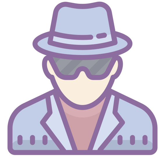Szpieg mężczyzna icon. The icon depicts a male dressed in a trench coat. The collar of the coat has been flipped up to obscure his face from the side. The figure shown is also wearing a striped fedora.
