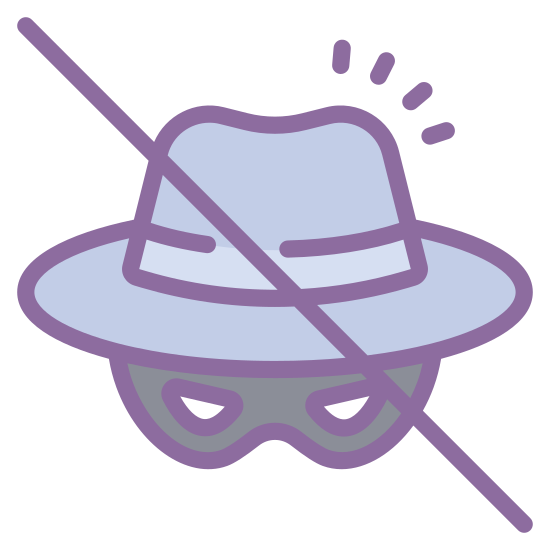 Spyware icon. It's a fedora style hat with a band around it, and just below the hat there is a robber's mask instead of a head or a face. There is a straight line that goes from the upper left to the lower right.