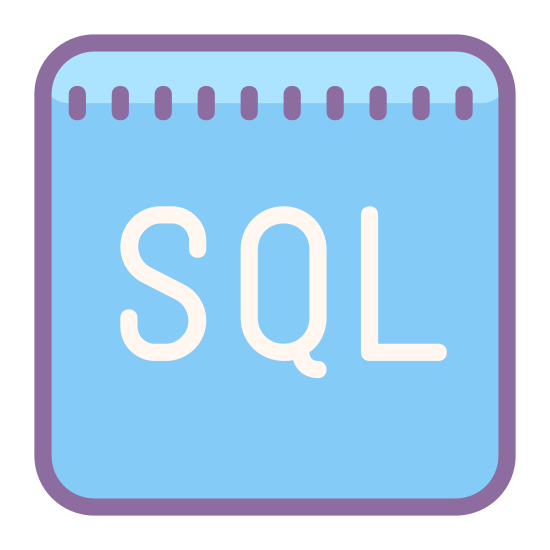 SQL icon. This icon is the capital letters SQL. The letters are encased in the outline of a square.