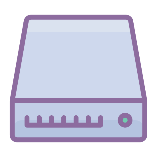 SSD icon. This icon is a 3-D representation of an external hard drive. It's made of a rectangle with stylized markings on the front. The markings signify the indicator lights you'll often see on external hard drives.