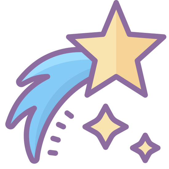 Вифлеемская звезда icon. This is a logo of a regular five pointed star in the upper right with a tail coming out of the lower left side of the star. The tail is wide and ends in three points and is longer than the star and goes to the bottom left.
