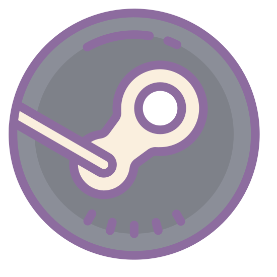 Steam icon. It's the outline of the Steam logo, drawn inside a square with rounded corners. It looks like the Steam logo, but drawn as the outline.  It looks like a bicycle chain link drawn diagonally with a line coming out of the lower part of the link.