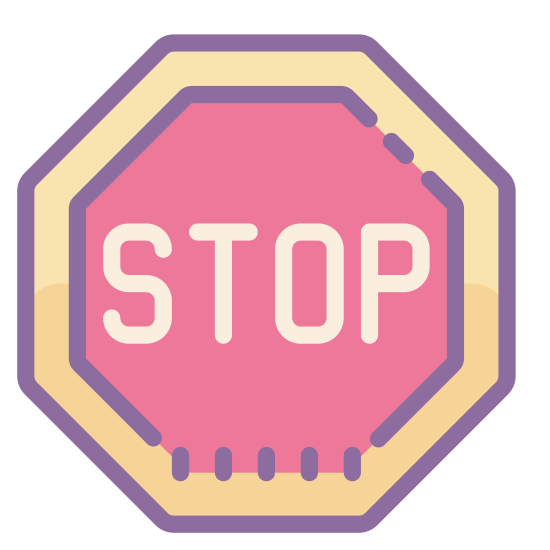Znak Stop icon. It is a hexagon with rounded corners. Large rounded letters that say S T O P are centered both vertically and horizontally, putting them in the exact center of the hexagon.