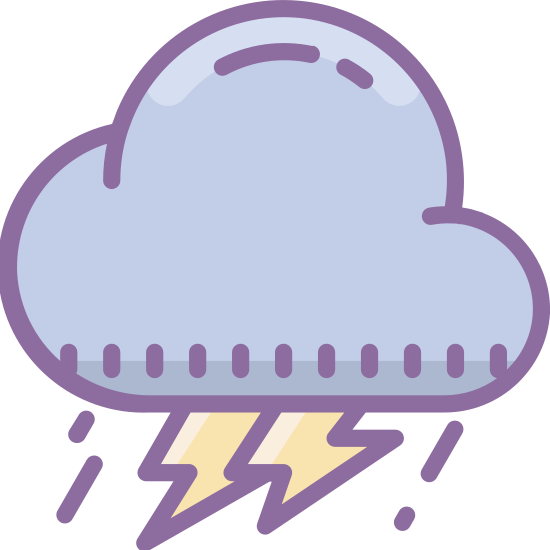 Storm icon. The icon is a stylized depiction of a storm cloud. The cloud is fluffy and curvy on the top,. On the bottom of the raincloud, some rain drops and even a lightning bolt can be observed.