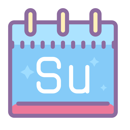 Sunday icon. There is a square calendar box with a header and two pins at the top. Inside the square is an uppercase S and lowercase u, for Sunday.