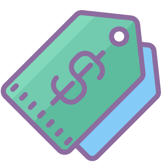 Tags icon. It's a logo for Icon Tags reduced to two clothing tags stacked on each other. The clothing tags have no writing on them, but they both have small holes in them.