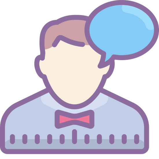 "Communicate icon. This an outline of a male person. The outline shows the head and shoulders. There is no face – just the outline. Next to the person's shoulder is a ""speaking bubble"" representing speech."