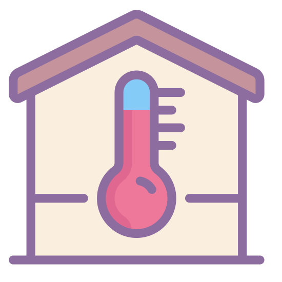 Temperatura wewnątrz icon. This image for temperature inside depicts the outline of a house. It is in the shape of a square, with a roof that is slanted upwards at the top. In the center of those there is a large thermometer symbol.