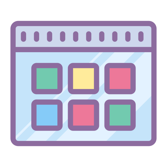 Thumbnails icon. The logo is of a series of nine small squares in a grid pattern.  The grid is three squares wide by three squares tall. The squares are not touching at all, there is an even amount of space between each square.