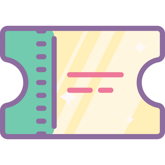 Билет icon. The ticket icon starts as a rectangle shape. On each of the short ends, a semi-circle has been cut out. 1/5 from the right most short end is a dashed line, indicating where to tear it,