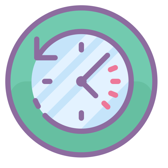 Прошедшее время icon. The past icon is a represented with a clock. Instead of a complete circle like most clocks are, the clock is shown with an arrow that makes a circle. However, the arrow is going in a counter clockwise motion to show that it is going backwards or in the past.