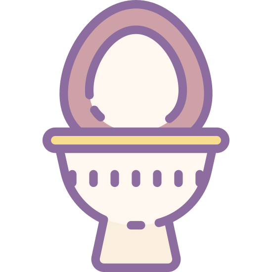 Toilet Bowl icon. This is an image of a toilet bowl. The toilet bowl is seen from the front with a small rectangular base. Above the base is a semicircular bowl. The lid of the bowl is shown as two ovals, a larger one with a smaller oval in its center.