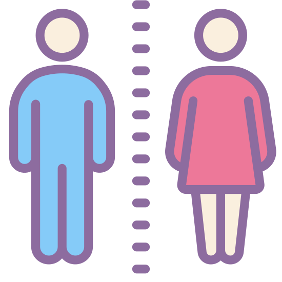 Toilet icon. It is a logo for a sign placed on bathroom doors to indicate which room is for which gender. There is a male and female icon standing next to each other. For the male, it is a circular head with 2 arms and 2 legs, as if he was wearing a shirt and pants. For the female icon, it is a circular head with 2 arms and 2 legs and a shape of a dress.
