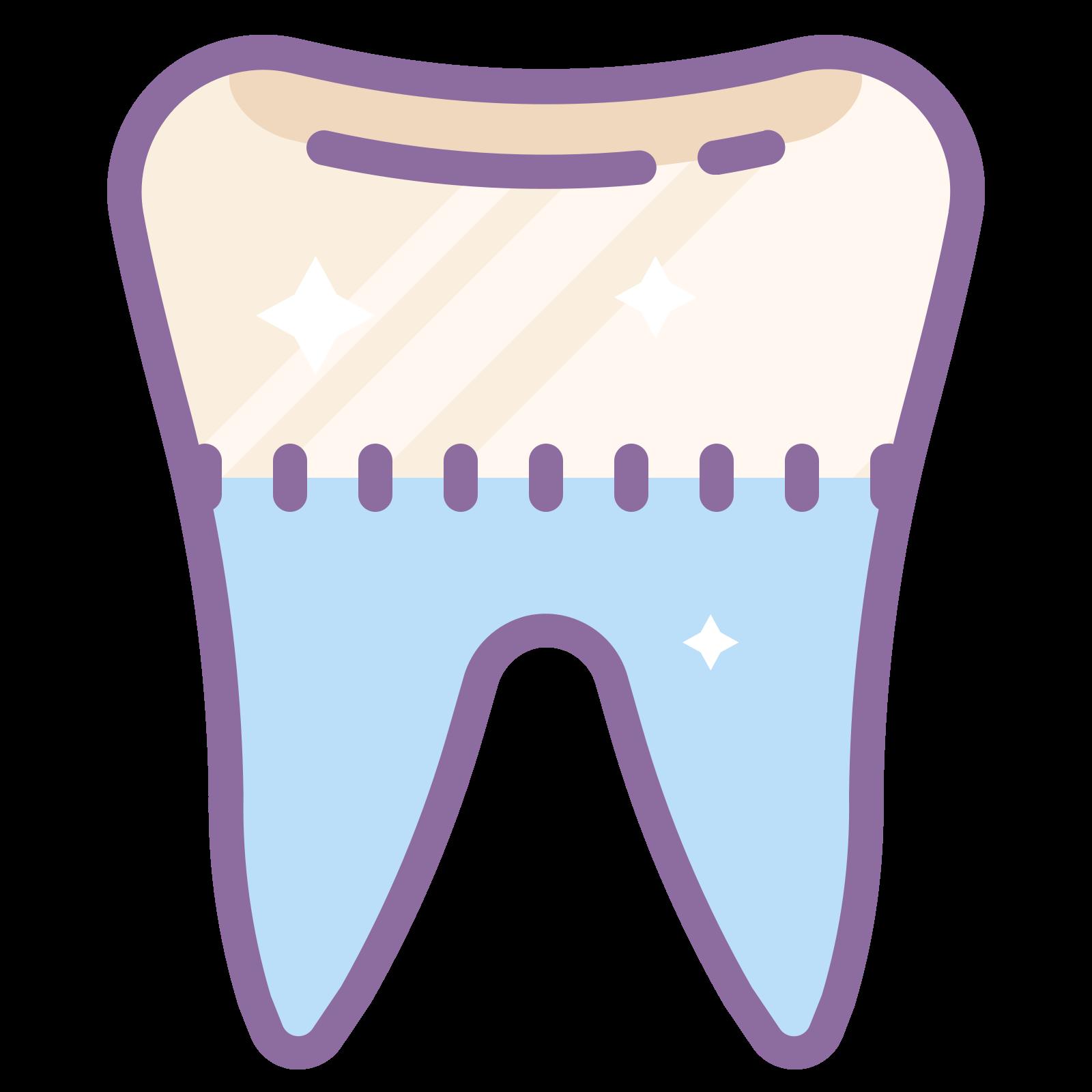齿 icon. It is an image of a tooth.  There are two medium length roots at the bottom, they are fairly symmetrical.  The top is rounded and divided into two bumps, with a short diagonal line in the middle to indicate the groove in the tooth.