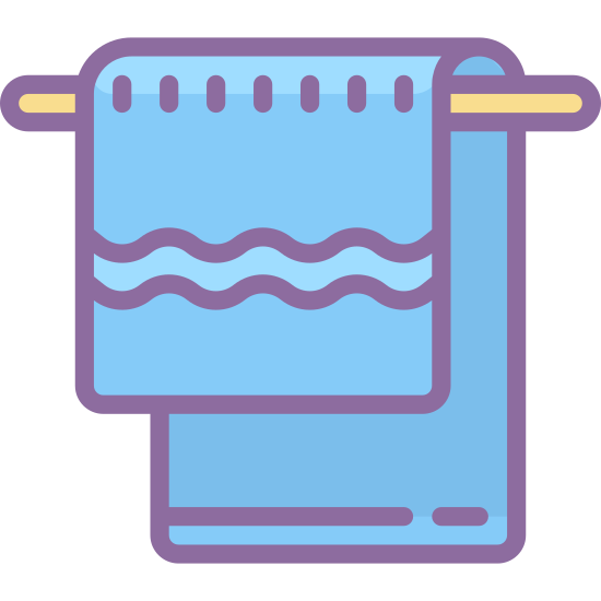 Towel icon. An icon for a towel is a rectangular shape object that is a cloth material. The towel icon will also be displayed on a line, which is the bar where the towel hangs such as in a bathroom.