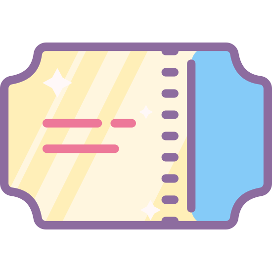 Билет на поезд icon. The icon is shaped like a horizontal rectangle but each of the corners are curved inwards. There is also a vertical dotted line running down the right side of the rectangle 3/4 of the way.