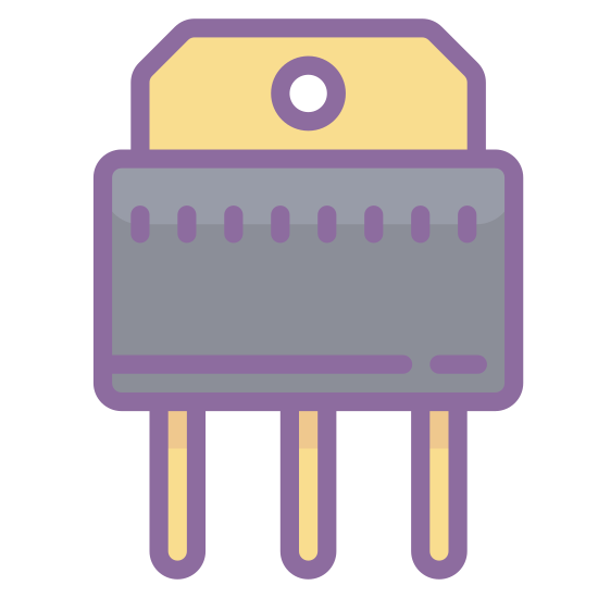 Transistor icon. Three parallel lines form the legs of the icon. a rectangle is attached to these legs. on top of this rectangle is a hexagon shaped similarly to the rectangle. this shape contains a single dark circle in its center
