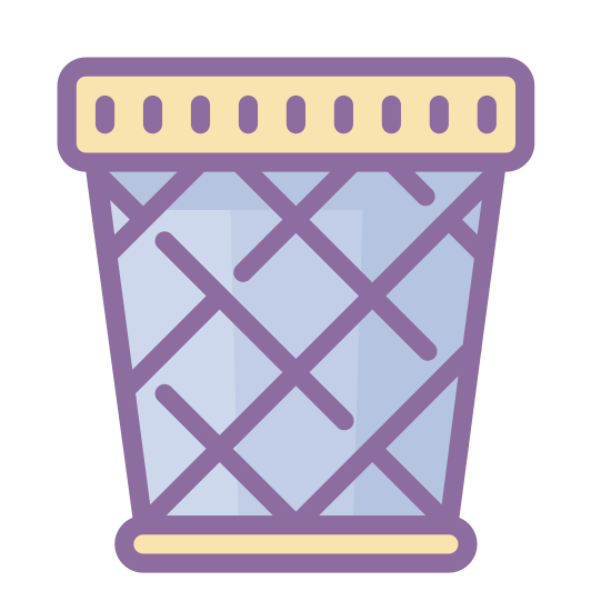 Trash icon. It is worthless discarded material or objects.  It is a place where rubbished discarded. It is something that worthless or an inferior quality. Normally you would throw it away in a receptacle.  It is considered inferior quality.