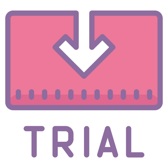 Trial icon. The image is a rectangle with an arrow coming from the top of it. The arrow is centered and pointing down. Directing underneath the rectangle is the word trial in all capital letters.