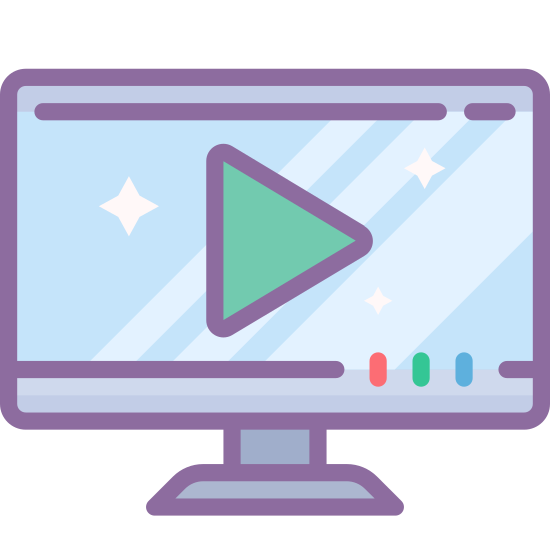 TV Show icon. The icon is a logo of a TV Show. It is shaped like a rectangular screen, and has an arrow in the center, similar to play buttons on streaming video.