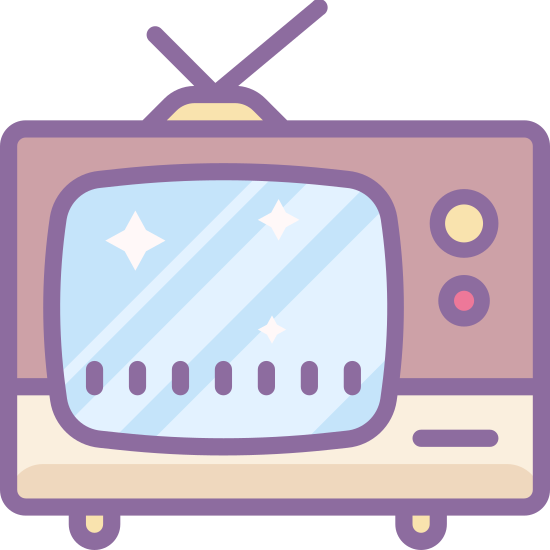 TV icon. TV Icon, rectangular thick line, sharp on all four endges of course, representing a television screen. There is another straight line underneath, representing the base of the television.