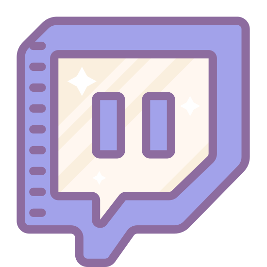 Twitch icon. It's the logo for Twitch. It has the iconic square bubble box with the two horizontal lines that signify pause buttons on a radio. The pause button is encased in the square box.