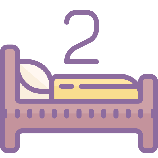 Two Beds icon. This is a bed. Above the bed is the number 2. This means there are 2 beds in total.