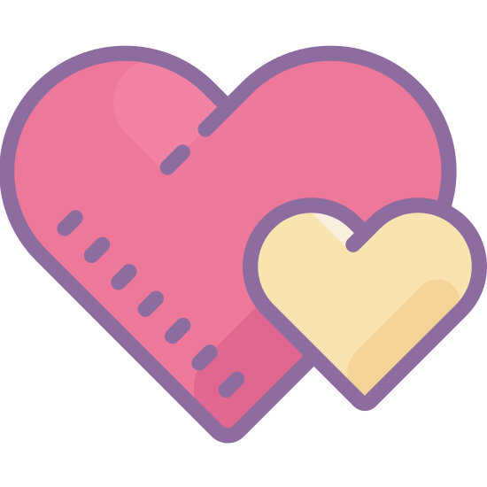 Two Hearts icon. The two heart symbols are two hearts are right next to each other. A heart shape has a bigger rounded side and the top is curved downwards and all the lines will connect to each other. The two hearts may also be different sides, but they will be shown together.