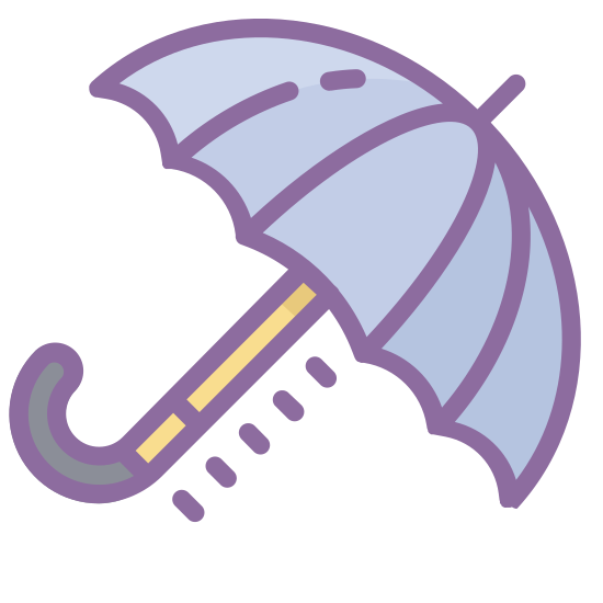 """Regenschirm icon. The icon is an umbrella.  The umbrella has three small arches and a handle curved like the letter """"j"""".  There is also a small antenna like spoke on the top."""