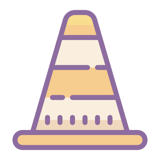 W budowie icon. The icon is triangular with rounded corners. Inside of the triangle is a man holding a tool of some kind. He looks to be shoveling a pile of dirt or rocks.