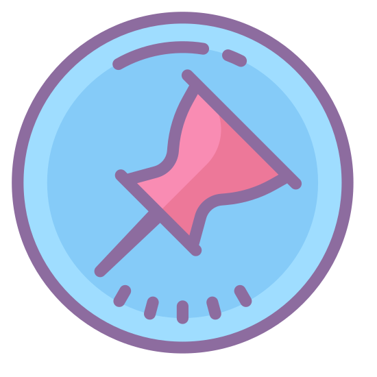 Unpin 2 icon. The image is a pushpin that is enclosed in a circle. The point of the pin points to the bottom left of the circle. There is a diagonal line going thru the circle and the pin.