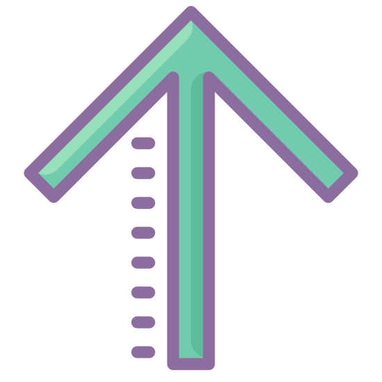 Up icon. Arrow up is made of 3 lines the main line starting from bottom of page up towards the top of page .then there is two identical lines that both start at the top of the main line and then at an angel away from main line and downwards which stops all most halfway down main line
