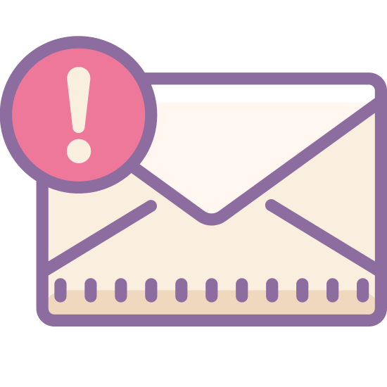 Urgent Message icon. An urgent message icon consists of a symbol of a letter, and next to the letter there is a circle with an exclamation point in the center. The letter is a rectangle shape had inside has lines to form a triangle that is folded over another triangle. An exclamation point is a line with a dot under it.