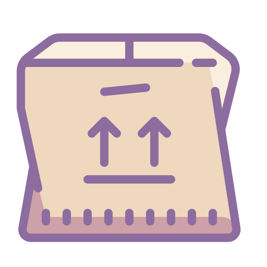 Used Product icon. This icon is depicting a closed cardboard box with the edge of the box protruding and crumpled as if to indicate it in poor shape or used. There is a small hole cut in the side of the box as a handle.