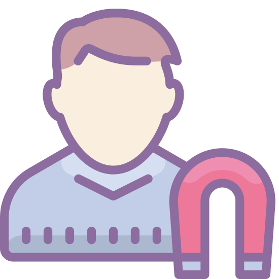 User Engagement Male icon. The icon shows a silhouette of a human-like figure from the top of their head to their shoulders. Next to the figure ate the bottom right is an upside down U shape that slightly overlaps the human-like silhouette. At the center of the U is a lighting shape drawing.