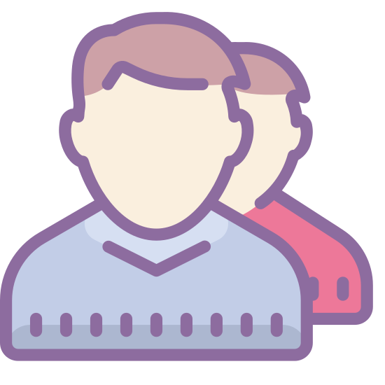 User Account icon. There is one male head facing us. there is also one behind him although you can only see about half of the shape. you can see the outline of the hair, ear, neck and shoulders but nothing else