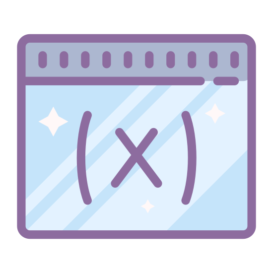 Variable icon. An icon of a variable consists of a square with a line across the top. In the center of the icon there is a parentheses and in the parentheses there is an x.