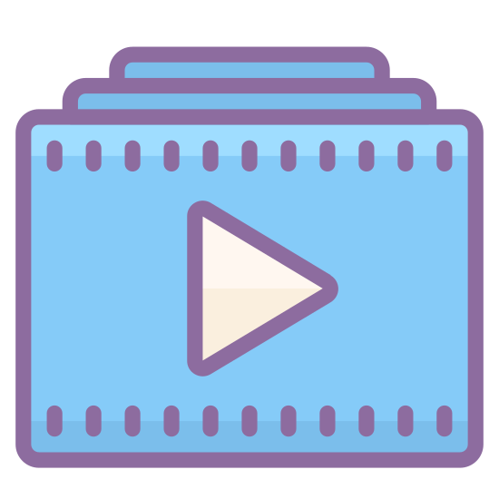 Video Playlist icon. There is one square with a triangle in the middle. it is facing the right side. there are 2 lines on top of the square. the one at the top is smaller than the middle