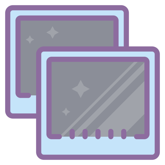 Virtual Machine icon. The  virtual machine has two frames with one frame on top of and slightly offset to the south east of the other one. Each frame consists of an inner rectangle and an outer rectangle with rounded edges with a slight gap between the two rectangles.